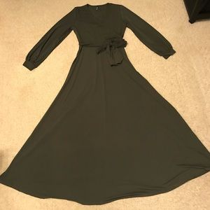 Elegant Olive Green Maxi Dress